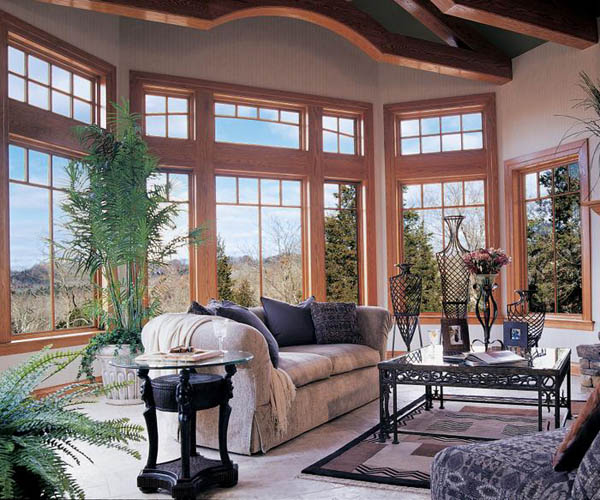 Jeld Wen: Oak Wood with Cherry finish Casement and Picture Windows