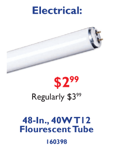 48-In. 40W T12 Flourescent Tube. $2.99