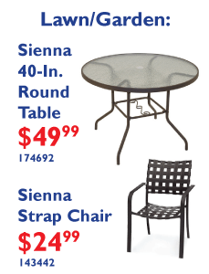 Sienna Collection - 40-In. Round Table $49.99 and Strap Chair $24.99