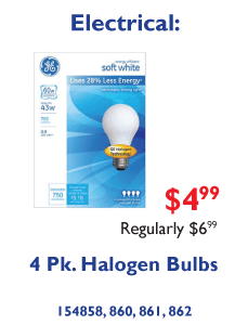 4 Pk. Halogen Light Bulbs $4.99