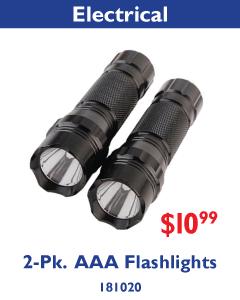2-Pk. AAA Flashlights. $10.99.