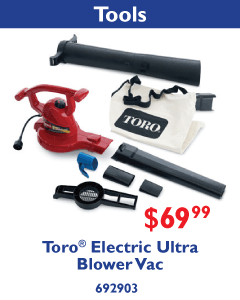 Toro Electric Ultra Blower Vac. $69.99.