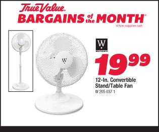 12-In. Convertible Stand/Table Fan. $19.99