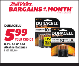 Duracell 8-Pk. AA or AAA Alkaline Batteries. Your Choice, $5.99