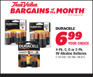 Duracell 6-Pk. C, D or 2-Pk. 9V Alkaline Batteries. Your Choice, $6.99
