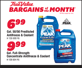 Gal. 50/50 Prediluted Antifreeze & Coolant - $6.99. Gal. Full-Strength Concentrate Antifreeze & Coolant - $9.99.