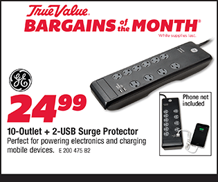10-Outlet + 2-USB Surge Protector. $24.99.