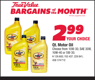 Pennzoil Qt. Motor Oil $2.99 - Choose from 10W-30, SAE 30W, 10W-40 or 5W-30