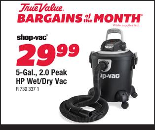 Shop-Vac 5 Gallon, 2.0 Peak HP Wet/Dry Vac $29.99