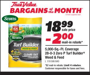 Scotts Turf Builder Weed & Feed. 5,000 Sq. Ft. Coverage. $18.99 minus $2.00 mail-in rebate