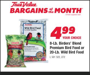 8-Lb. Birders' Blend Premium Bird Food or 20-Lb. Wild Bird Food. Your Choice $4.99.