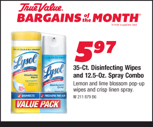 35-Ct. Lysol Disinfecting Wipes and 12.5-Oz. Spray Combo. $5.97.