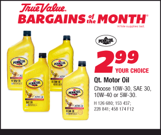Qt. Pennzoil Motor Oil. Choose 10W-30, SAE 30, 10W-40 or 5W-30. Your Choice $2.99.