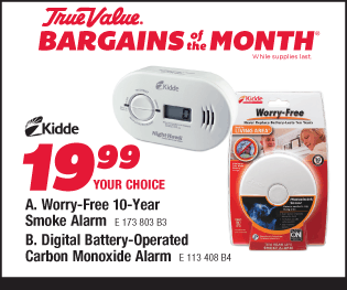 Kiddie Worry-Free 10-Year Smoke Alarm or Digital Battery-Operated Carbon Monoxide Alarm. Your Choice $19.99.