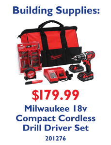 Milwaukee 18v Compact Cordless Drill Driver Set. 201276