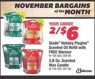 Glade® Holiday Plugins® Scented Oil Refills with FREE Warmer. 3.8-Oz. Scented Wax Candle. Your Choice 2/$6.