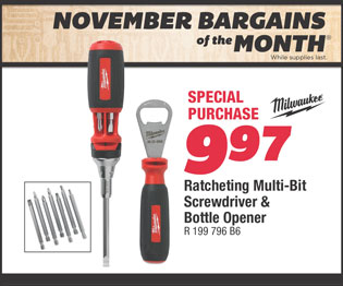 Milwaukee Ratcheting Multi-Bit Screwdriver & Bottle Opener. Special Purchase $9.97.