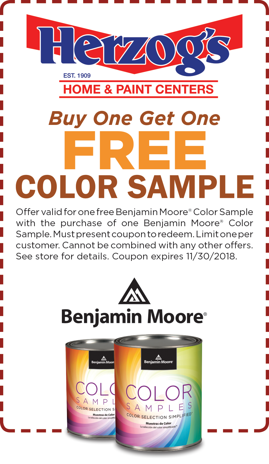 Buy one get one FREE Color Sample of Benjamin Moore Paint